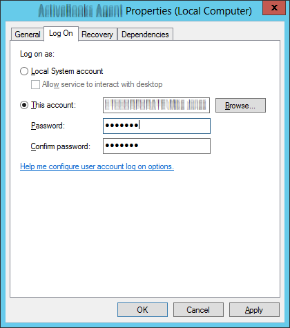 Re-enter windows service password