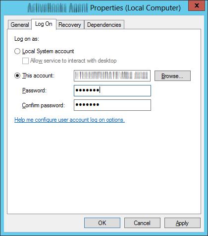 Re-enter windows service password