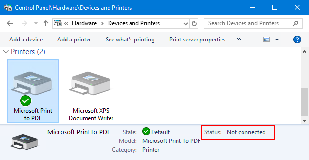 Spooler service stopped, printers not connected