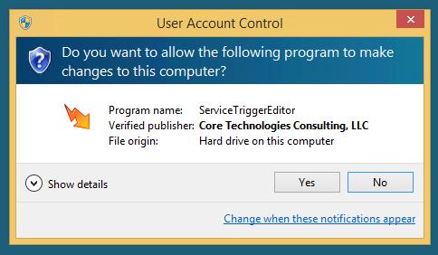 Service Trigger Editor: UAC Prompt