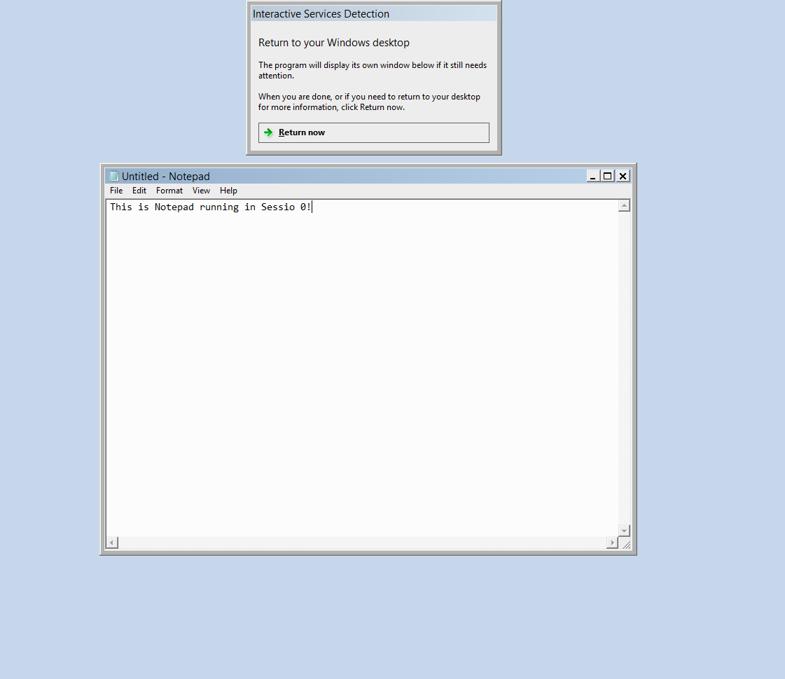 Session 0 with Notepad Running