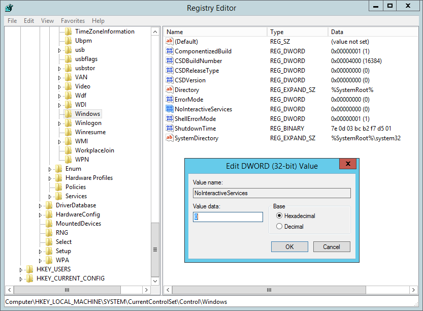 Enable interactive services registry value