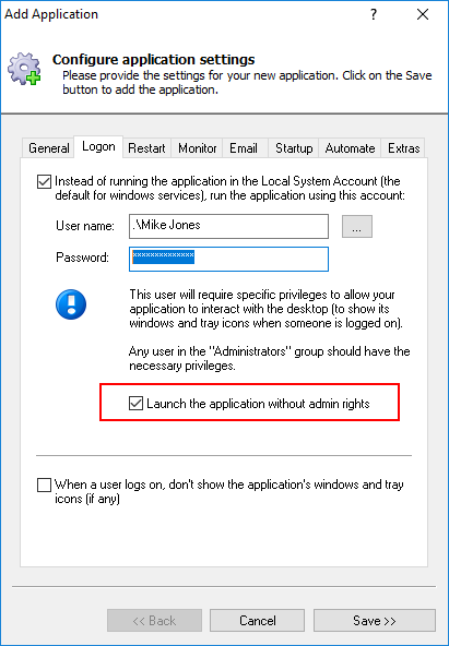 Launch the application without admin rights
