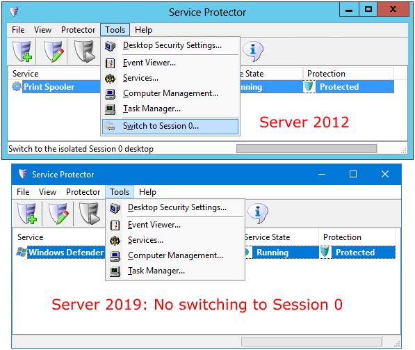 Session 0 on Windows Server