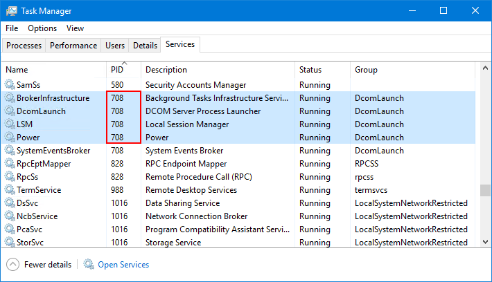 The Power Service in Task Manager