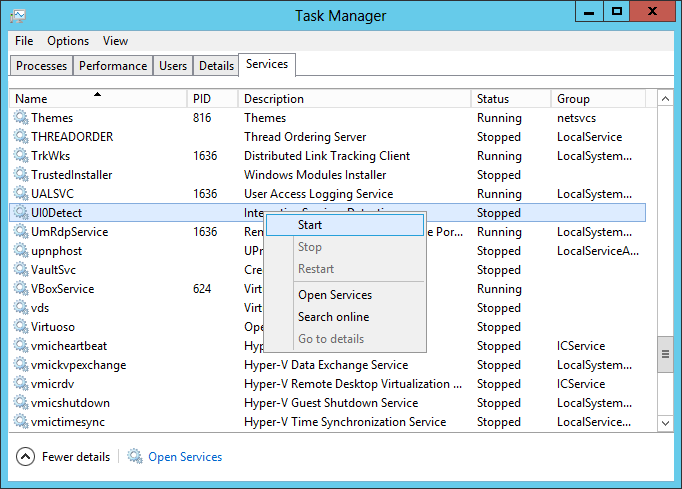 Start the UI0Detect Service from Task Manager