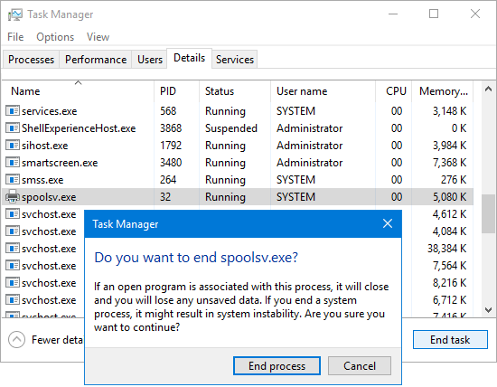 Task Manager: Terminate spoolsv.exe