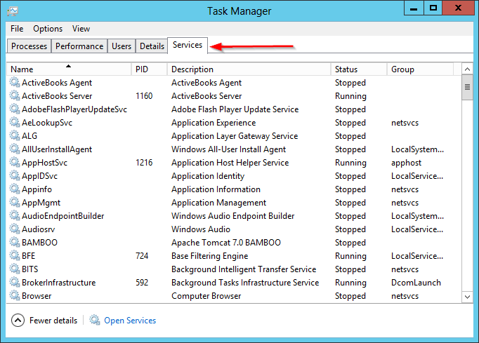 View Windows Services in Task Manager