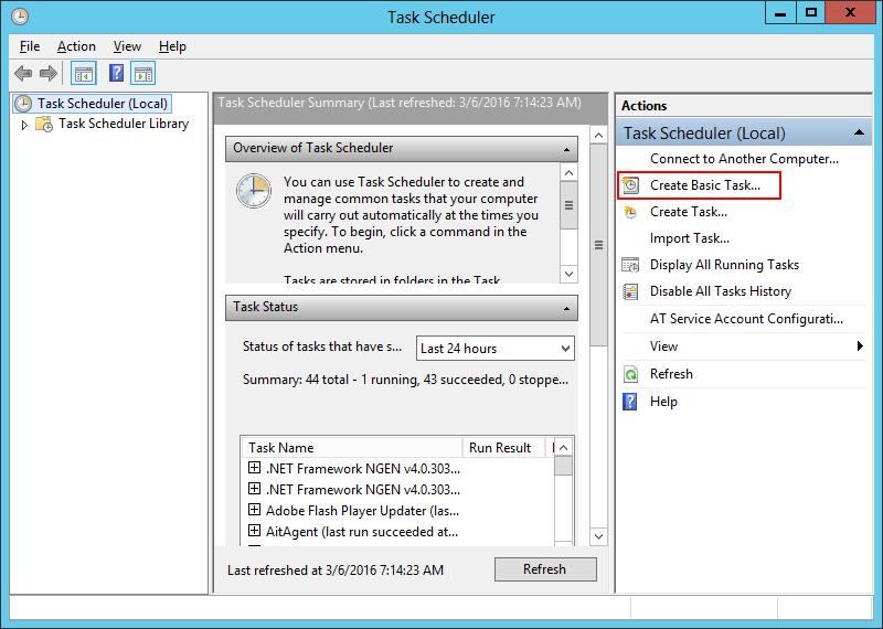 Task Scheduler: Create Basic Task