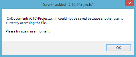 Tasklist Save Error
