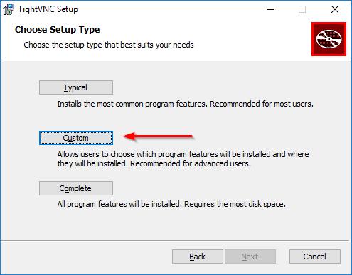 TightVNC Server Install: Choose Custom