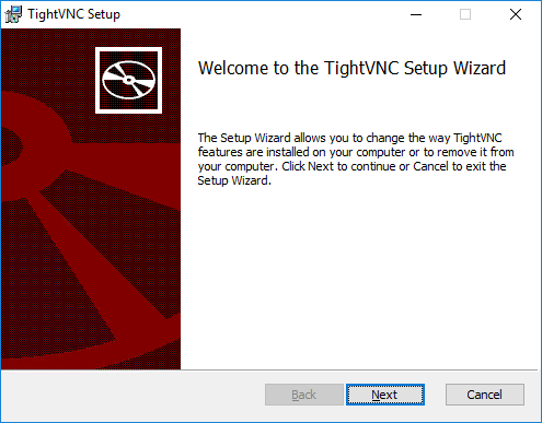 TightVNC Server Install: Welcome