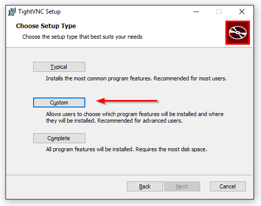 TightVNC Viewer Install: Choose Custom