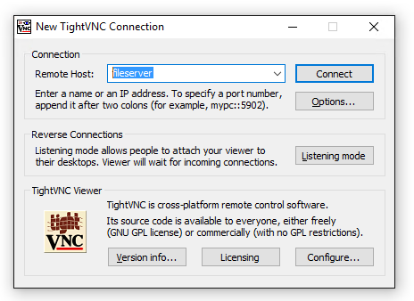 TightVNC Viewer: New Connection