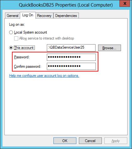 Update your Windows Service Password