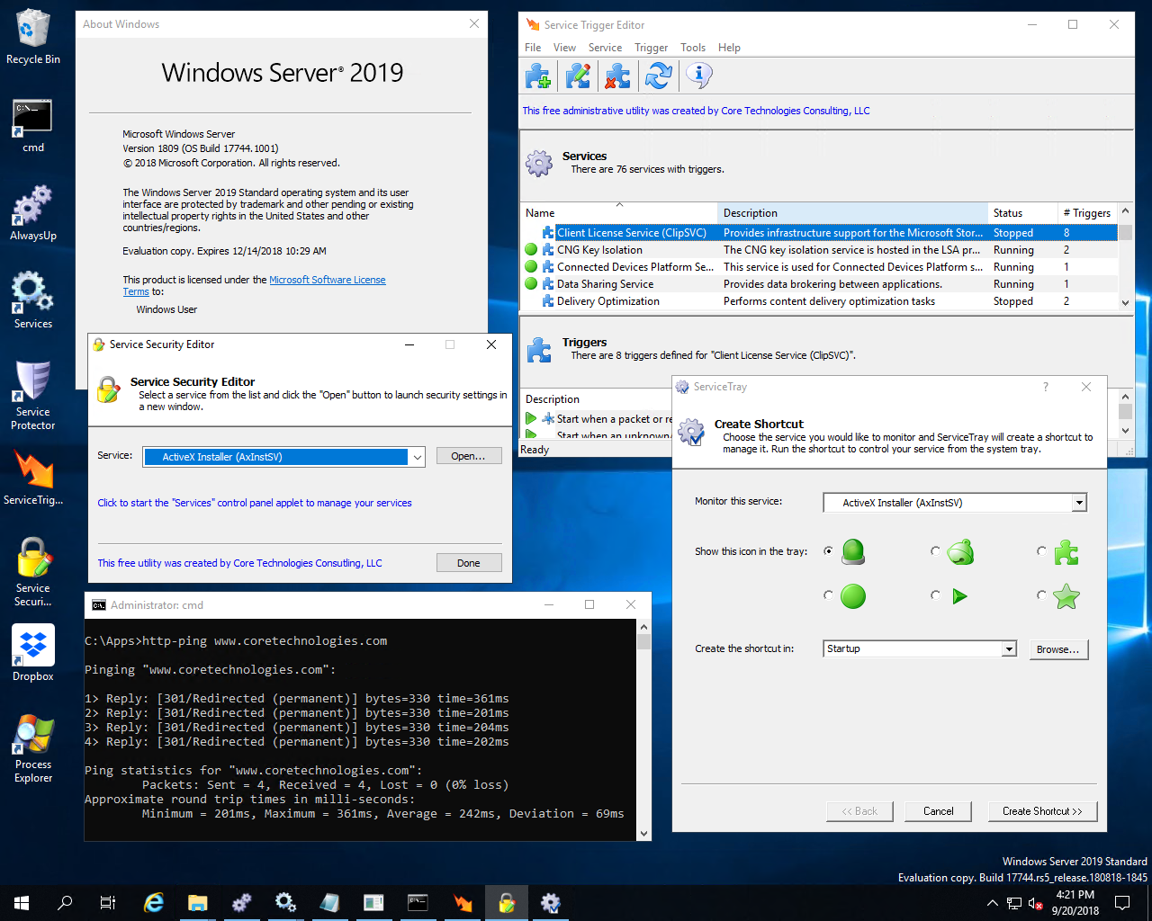Utilities running on Windows Server 2019