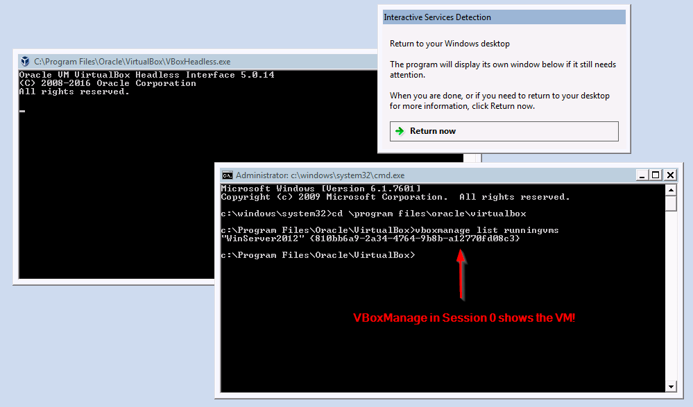 VBoxManage list runningvms in Session 0