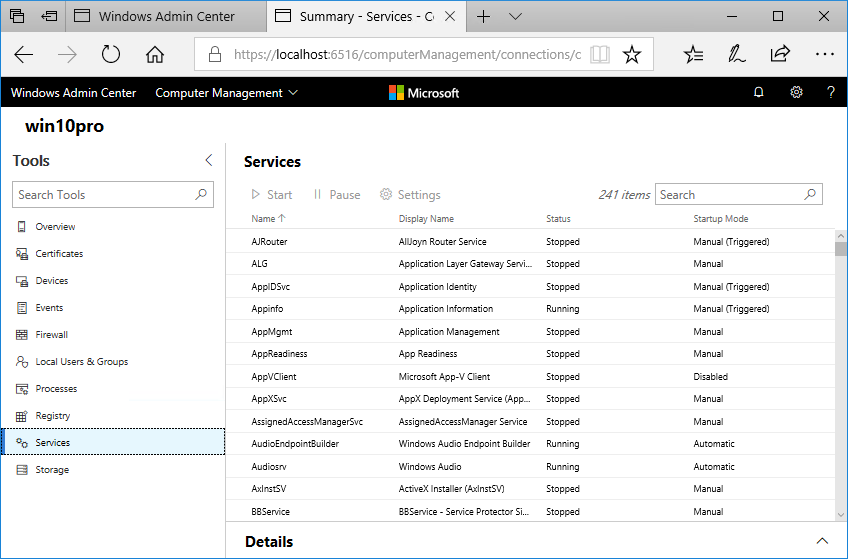 Windows Admin Center: Services