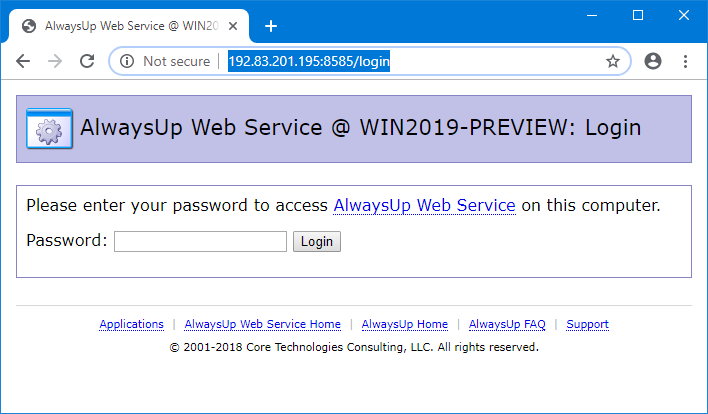 AlwaysUp Web Service: Working