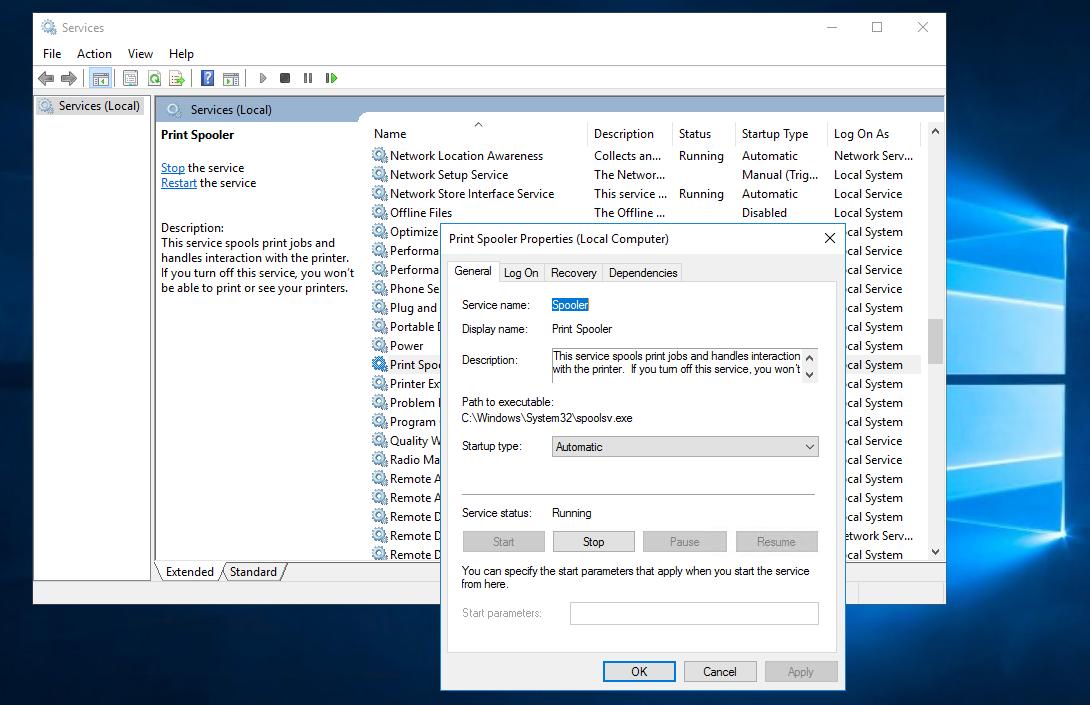 Services.msc on Windows Server 2016