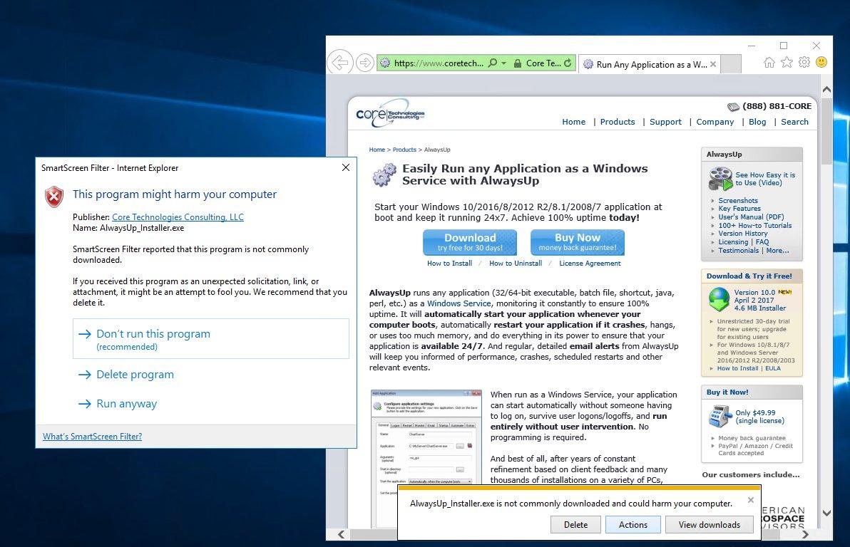 SmartScreen Filter complains about AlwaysUp