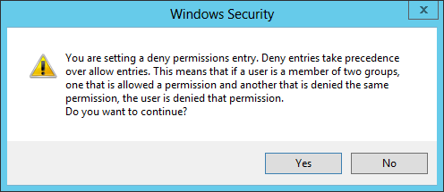 Windows Security Deny Warning