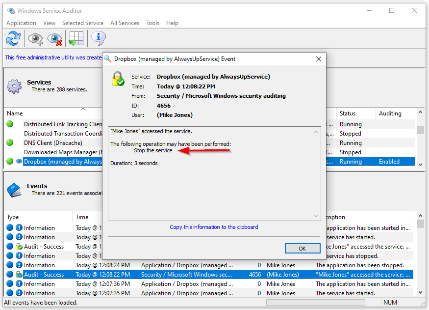 Windows Service Auditor: Stop event