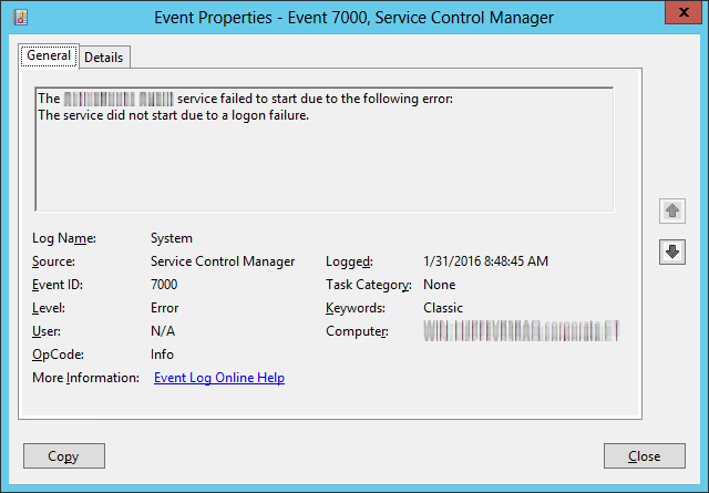 Windows Service Logon Failure