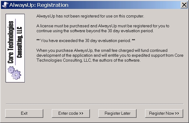 AlwaysUp Registration Dialog - Windows Service Setup