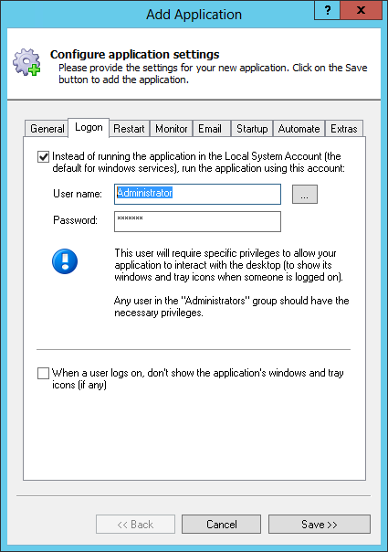 OneDrive Windows Service Logon Tab