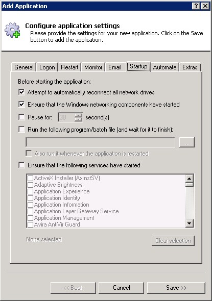 VirtualBox Windows Service: Startup Tab