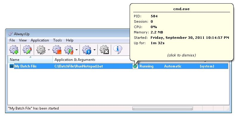 batch file to start program with arguments