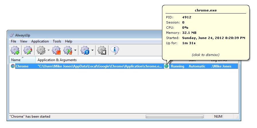 How to run Chrome as a Windows Service (7/2008/Vista/2003/XP