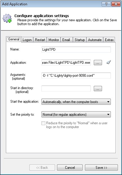 How to run lighttpd as a Windows Service (7/2008/Vista/2003