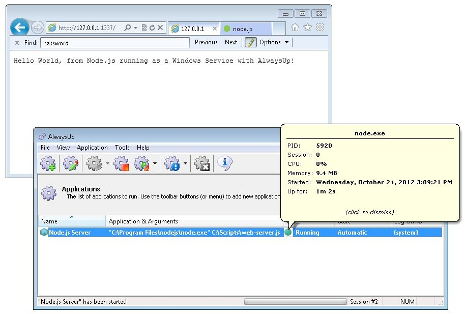 How to Run Node js as a Windows Service (8/2012/7/2008/Vista