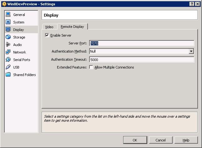 VirtualBox Remote Display Settings