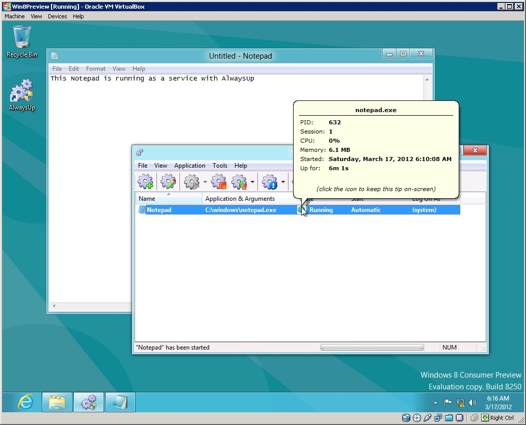 AlwaysUp running Notepad as a Windows Service on Windows 8