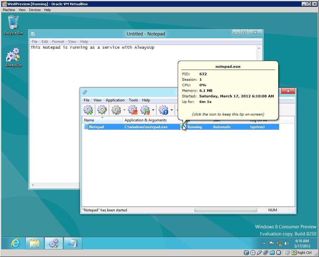 AlwaysUp running Notepad as a Windows Service on Windows 8