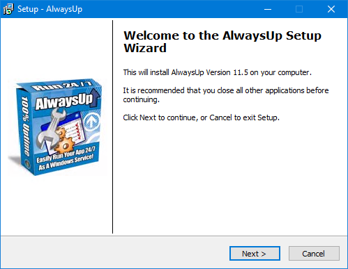 How to Install AlwaysUp on Windows 2019/10/2016/8/2012/7