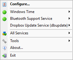 Easily manage your important Windows Services from the taskbar