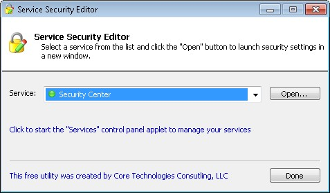 Service Security Editor : Screenshot