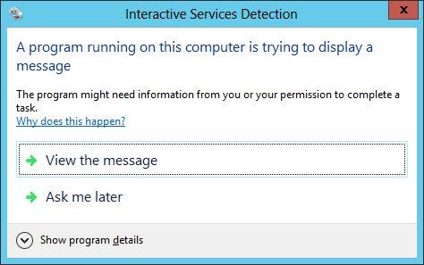 Interactive Services Detection Dialog